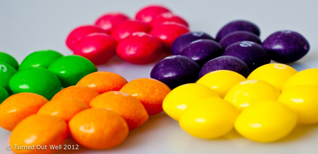 Sorted piles of Skittles sweets