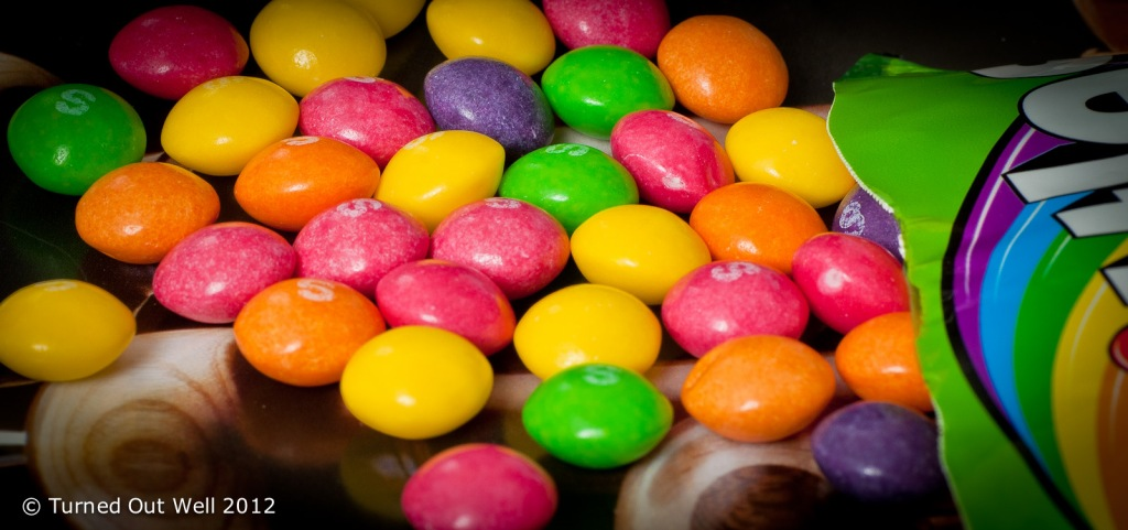 Unsorted Skittles sweets
